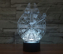 Free Shipping newest 1 Piece Holiday Lamp 3D Millennium Falcon Star Wars Lighting Gadget Mood Lamp Decor night light gifts foreign star wars millennium falcon 3d lamp acrylic stereoscopic led colorful gradient atmosphere lamp