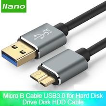 Llano סופר מהירות USB 3.0 סוג מיקרו B USB3.0 נתונים סנכרון כבל כבל עבור כונן קשיח חיצוני דיסק HDD סמסונג S5 מיקרו B נתונים