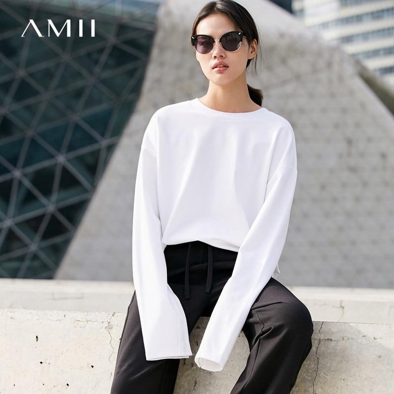 Amii Minimalist Casual Women Sweatshirt 2019 Long Sleeve O Neck Female Pullovers Sweatshirts