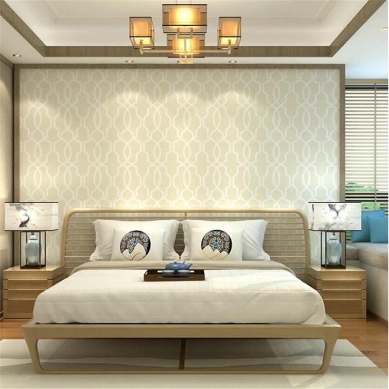 Beibehang moderne HD style chambre décoration de la maison papier peint tissé plaine treillis fenêtre géométrie fond 3d papier peint rouleau - 4