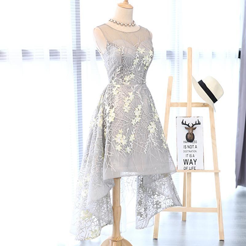 I lager Really Photo Silvery Scoop Neck Tulle Med Appliques Broderi - Särskilda tillfällen klänningar - Foto 3
