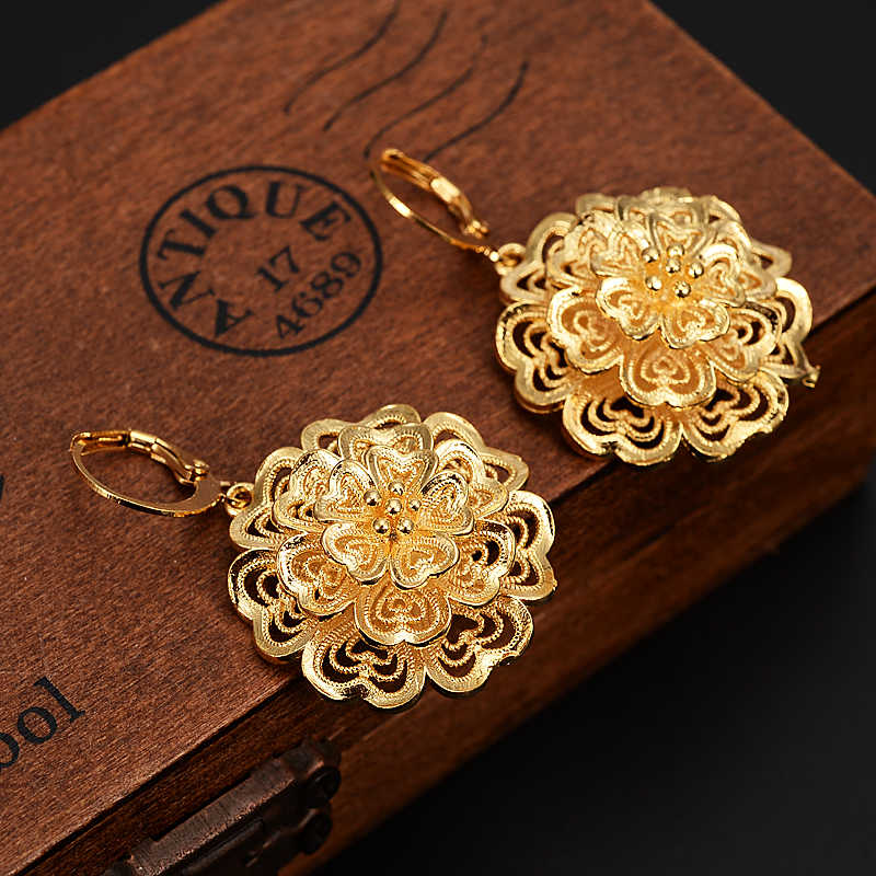 african Arab Dubai flower Earrings Gold Color Jewelry Ancient Coins Vintage Accessory for Women Girls kids party jewelry gift