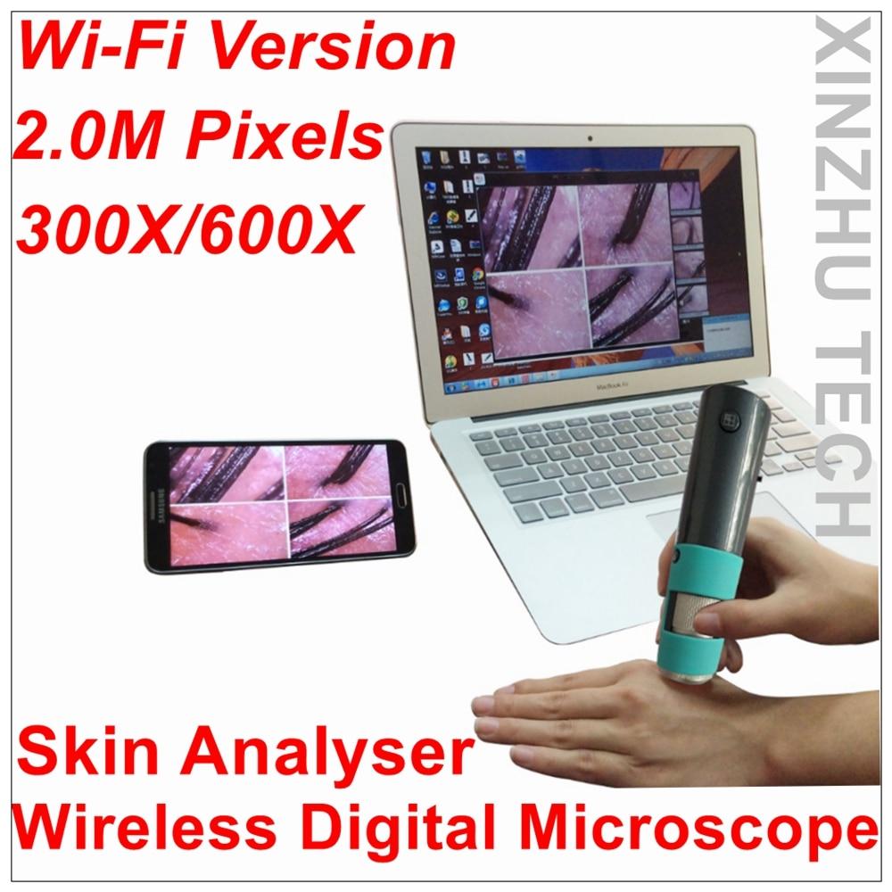 New wireless WiFi digital M30F microscope skin analyser with 2 0M camera 720P HD with 600x