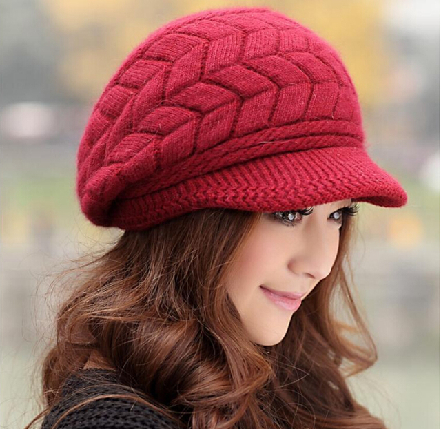 Elegant Women Hat Winter   Fall Beanies Knitted Hats For Woman Rabbit Fur  Cap Autumn And Winter Ladies Female Fashion Skullies 5160316539d