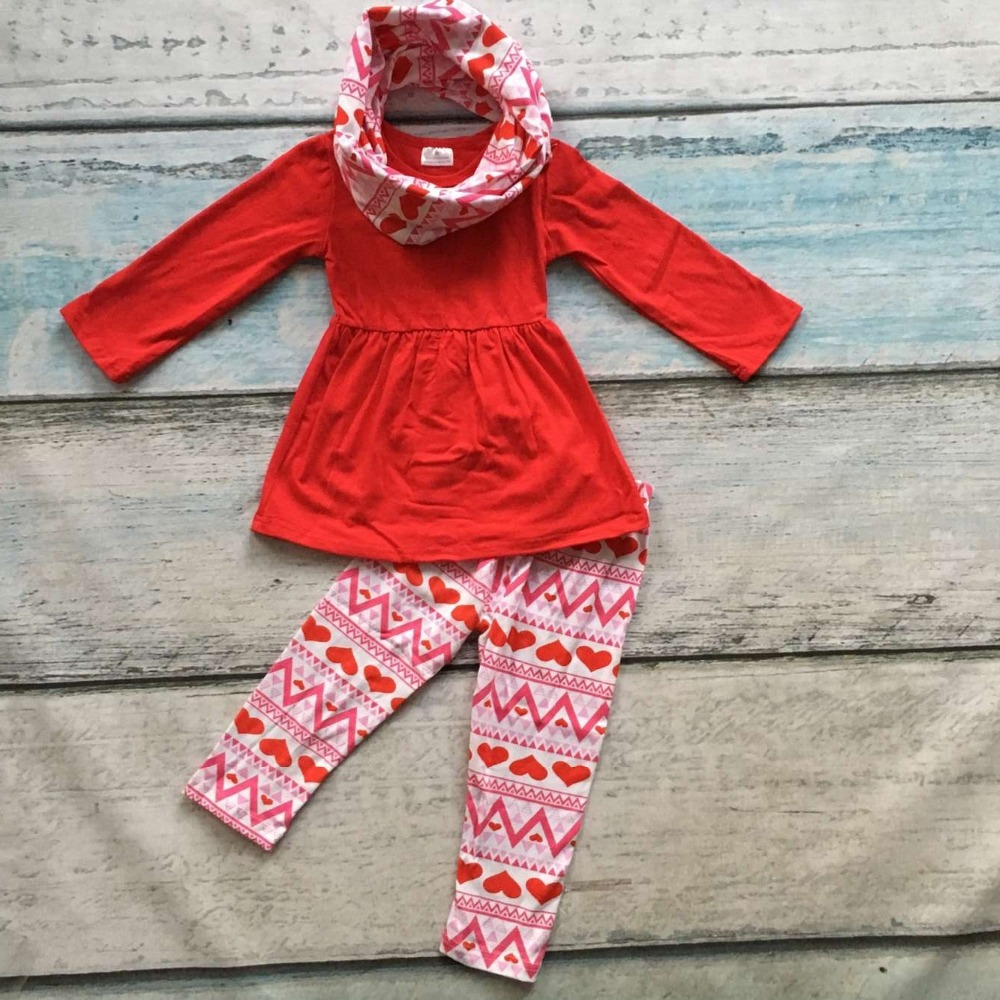 hot sale baby girls 3pcs with scarf clothes girls Valentine's Day boutique clothing sets girls red top red heart pant outfits zоом 3 day white with acp excel 3