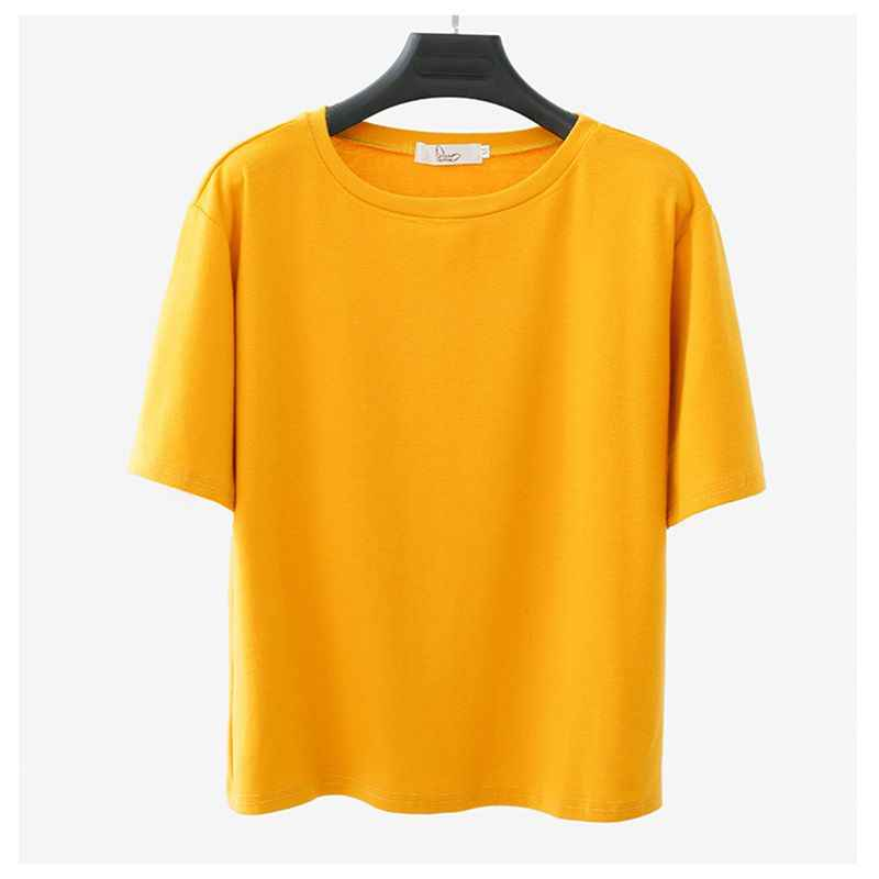 390119490147a ... Yienws Korean Style Loose Tee Shirt Femme Ladies Solid Color Plain  Summer Short Sleeve O- ...