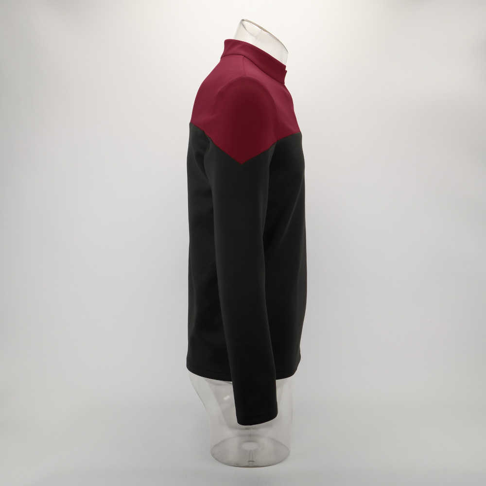 Cosplay 2019 estrela picard startfleet uniforme trek nova engenharia vermelho topo camisas st traje festa de halloween prop