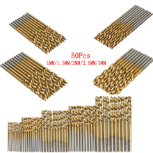 50Pcs HSS Twist Drill Abrasive for Metal Titanium Coated Drill High Speed Steel Drill Bit Power Drilling Woodworking Hand Tool world new machine for drilling needle set lever adjustable lever 2 35mm gold plated high speed steel twist drill