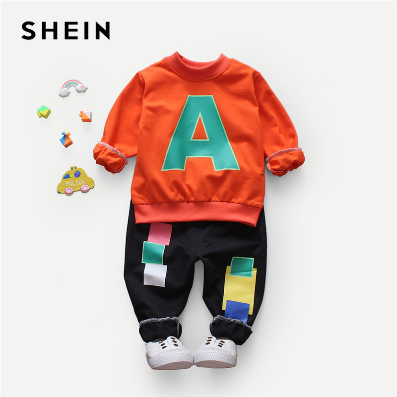 Фото - SHEIN Toddler Boys Letter Print Sweatshirt With Pants Two Piece Set Suit 2019 Spring Long Sleeve Casual Kids Boys Clothes fashion plaid blazer for boys england style formal suits long sleeve shirt vest pants 3pcs kids suit boys wedding clothes h012