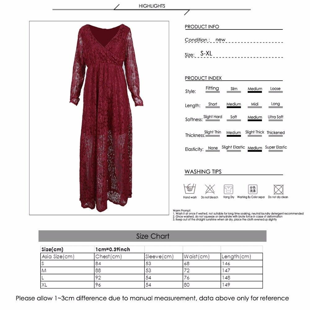 Puseky M-2XL Lace Maternity Dress Photography Prop V-neck Long ... 922fde35538c
