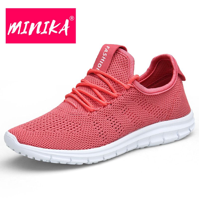 MINIKA Summer New Fashion Women Breathable Sneakers Mesh Handmade Knit Lace Up Casual Shoes Light Weight Women Flats 2018 new summer women casual shoes lace up woman sneakers breathable flat footwear female mesh shoes fashion dt926
