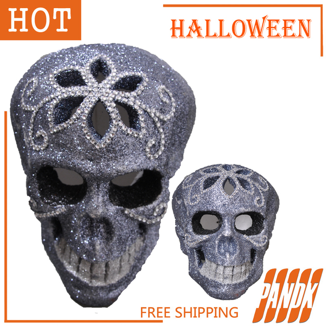 bling skull head escape haunted house halloween skull decorations skeletons head tricky halloween props free shipping - Halloween Skull Decorations