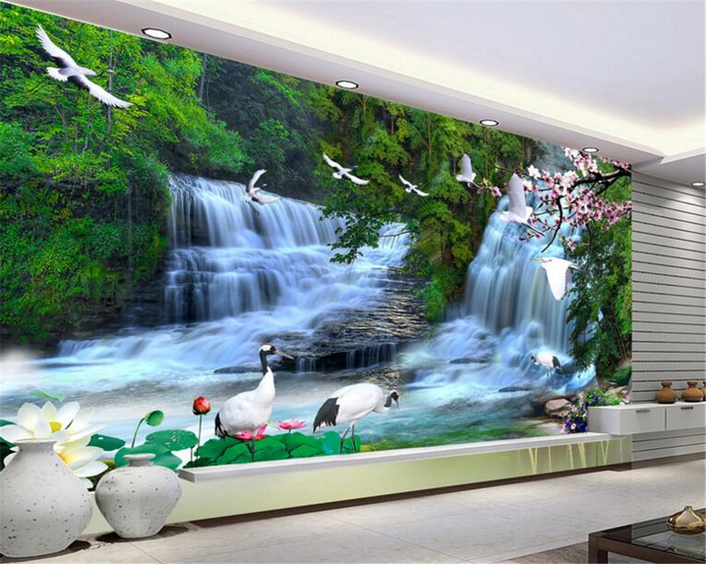Custom 3d Mural Wallpapers Hd Landscape Mountains Lake: Beibehang Custom Wall Paper HD Falls Landscape Wallpaper