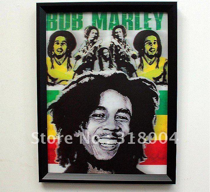 Bob Marley framed 3D portrait wall painting wall decor art for bar ...