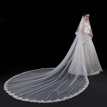 2017 New Wedding Veil 5 Meters Long Bridal Veils Top Quality Cathedral Veil Ivory Lace Sequins Edge Women Wedding Accessories(China)
