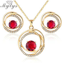 Mytys New Fashion Necklace Earrings Pink Crystal Jewelry Set  Gp N941