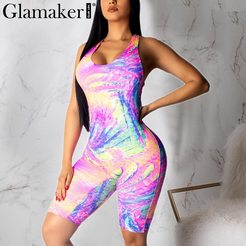 Glamaker Bodycon tie dye print short playsuit women Sexy backless fashion summer chic romper Female streetwear jumpsuit overalls