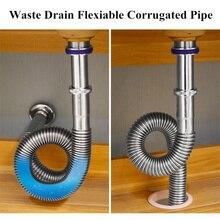 Слив отходов Гибкая гофрированная труба для ванной комнаты кухонная раковина слив выдвижной выход воды дренаж водопроводный шланг