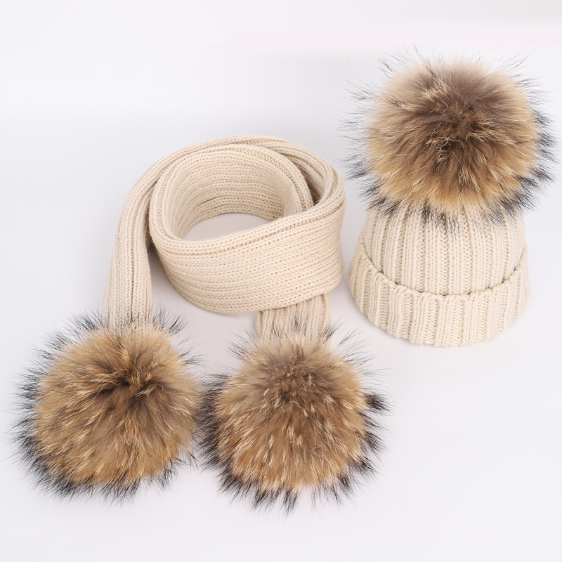 2019new 2 Pieces children 39 s winter hat hats for girls bonnet enfant child 39 s hat winter hat for girls with fur pom pom kids scarf in Men 39 s Skullies amp Beanies from Apparel Accessories