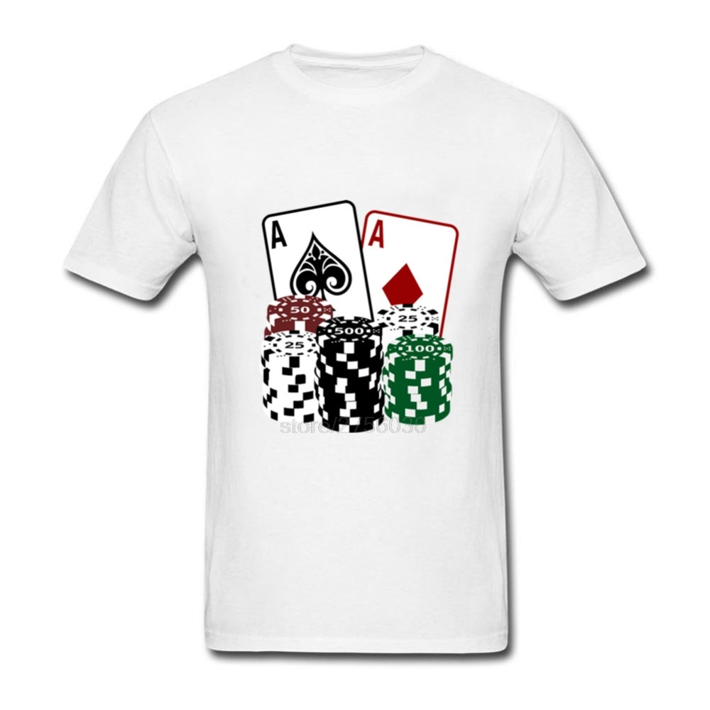 Mens lastest 2018 fashion short sleeve Poker Cards with Chips printed t-shirt funny tee shirts Hipster O-neck cool tops