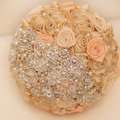 Champagne rose brooch bouquet Silk Bride Bridal Wedding Bouquet Bridesmaid Golden & Coral Ribbon Flower  Customizable  bouquets