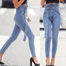 Прямая поставка для женщин Высокая талия цветок бутон карман обтягивающие джинсы брюки+ пояс эластичный пояс модный дизайн с высокой талией