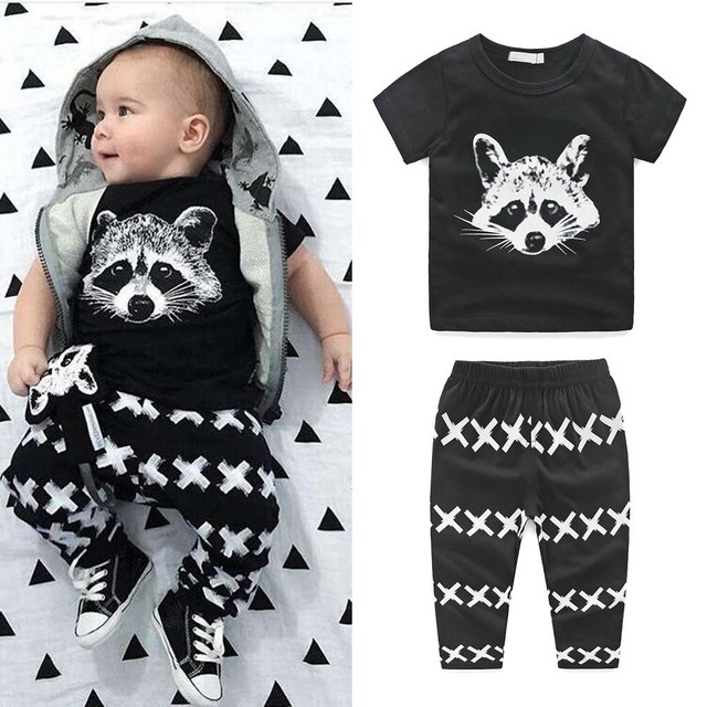 a076eb7fe827 Hot sale Fashion cute Raccoon Newborn Kids Baby Boys Short Sleeve T-shirt  Tops+Pants Clothes Set Outfits children tracksuits