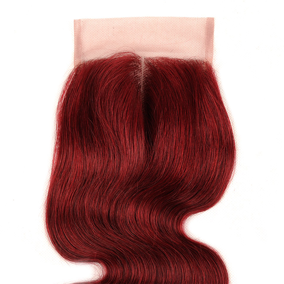 burgundy bundles bold red 99J body wave bundles with closure peruvian hair 3 bundles with lace closure non remy pinshair no shed
