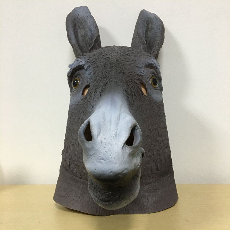 City head donkey latex mask cosplay crazy animals funny video broadcast orangutan props dog party toys