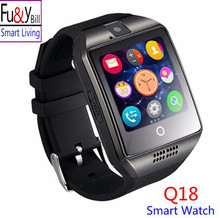 Fu&Y Bill New Q18 Passo meter With Touch Screen Camera TF Card Bluetooth Smart Watch for Android IOS Phone PK DZ09 U8 GT08 A1