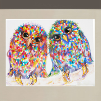 Hand Painted Animal Birds Oil Painting on Canvas Colourful Night Owl Wall Artwork Picture for Home Decor Stretched On Wooden