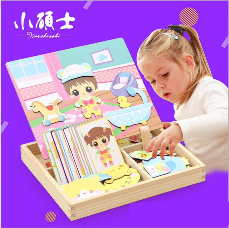 Baby Wooden Dress Up Puzzle Magnetic Tiles Games Box For Children Kids Puzzle Early eaduation Intelligence Girls Toys Gift