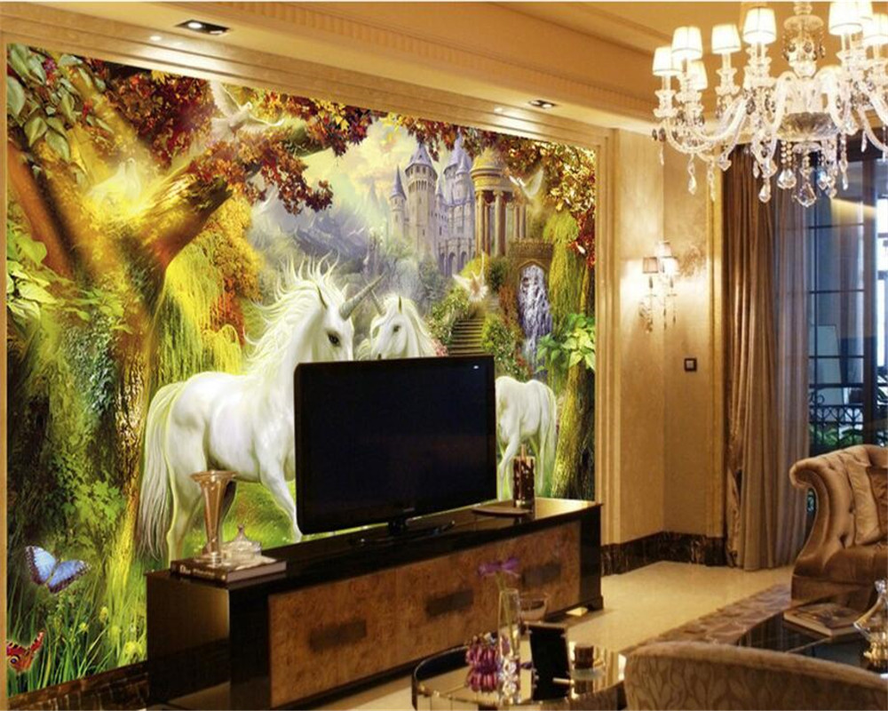 Beibehang Children room background decoration 3d wallpaper forest white horse unicorn background wall wallpaper papel de parede in Wallpapers from Home Improvement