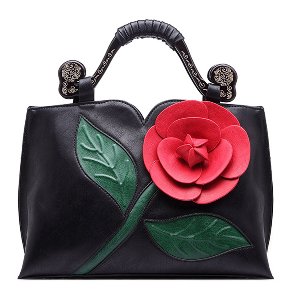 Famous Brands women top-handle bags PU leather femme bag Ladies Handbags Classical rose flower design bolsa feminina 2018 new famous brands women top handle bags pu leather femme bag ladies handbags classical rose flower design bolsa feminina 2018 new