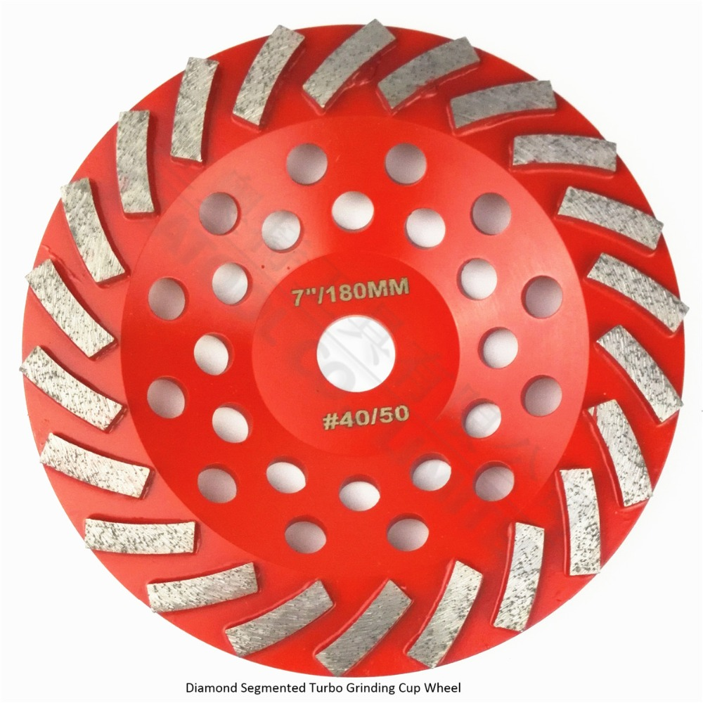 DIATOOL Diameter 180MM Segmented Turbo Diamond Grinding Cup Wheel For Concrete And Masonry Material, 7 Diamond Grinding Discs z lion 4 diamond cup wheel grit 30 silent core turbo cup grinding aluminum base abrasive tool for concrete granite thread m14