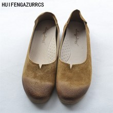 HUIFENGAZURRCS-New pure handmade shoes,the retro art mori girl Flats shoes,Summer and fresh single shoes,Women soft shoes