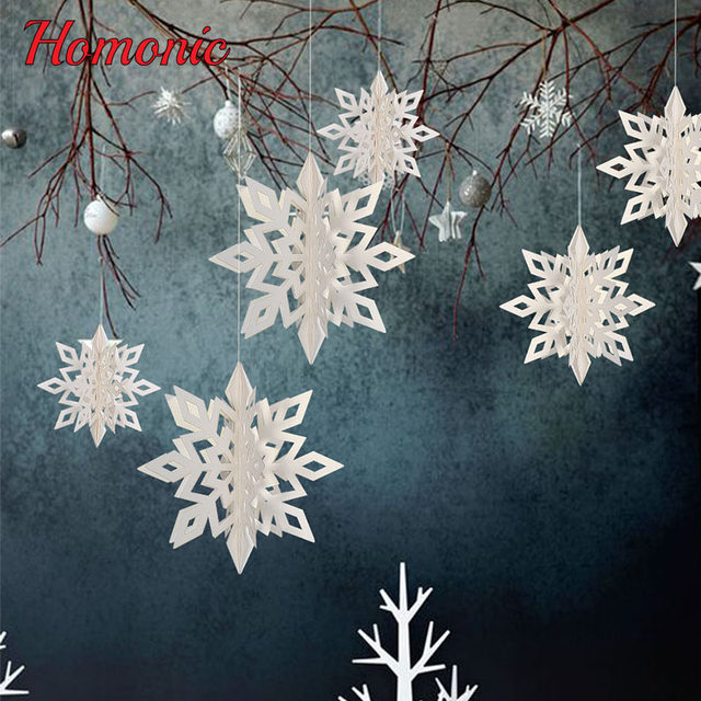 6pcs large cardboard 3d snowflake hanging ornaments new year christmas paper pompoms diy kids birthday party decoration supplies - Large Cardboard Christmas Decorations