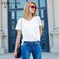 Вери güde новое поступление футболки женщин v-образным вырезом топы нагрудных кармана