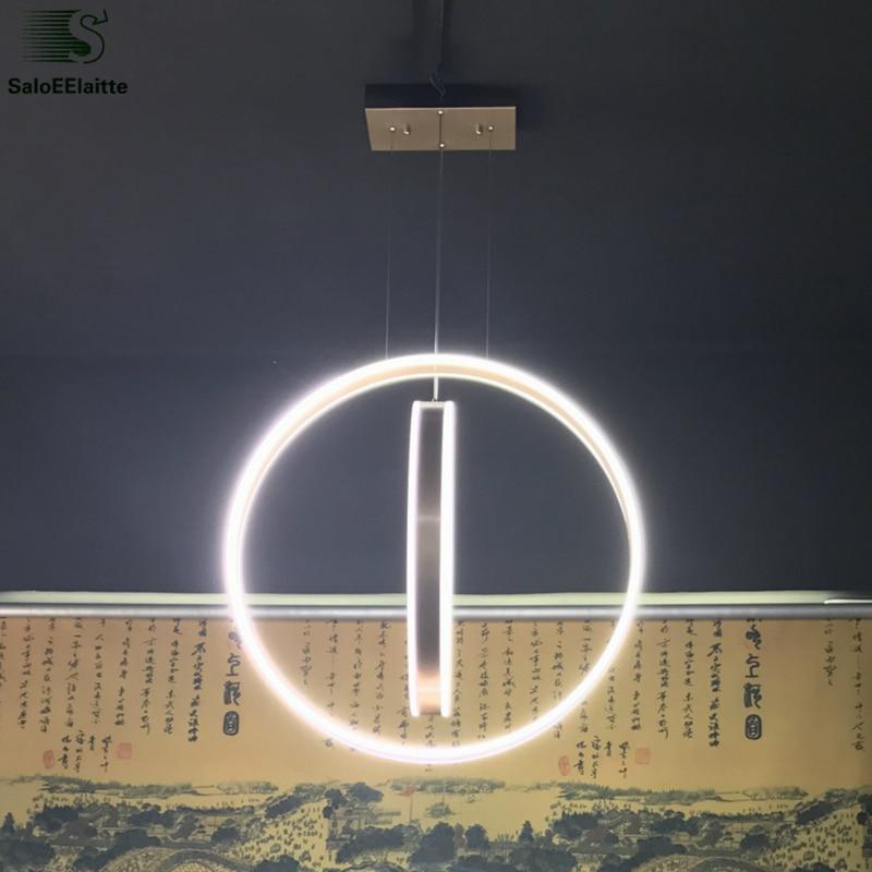 Modern Circle Ring Aluminium Led Chandelier Vertical Acrylic Pendant Chandelier Lighting Indoor Lighting Fixtures Lustre Lampare