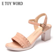 E TOY WORD Womens Sandals gladiators Korean Fashion Lace Open Toe Thick Heels Summer New Style Mid Heel Women Shoes