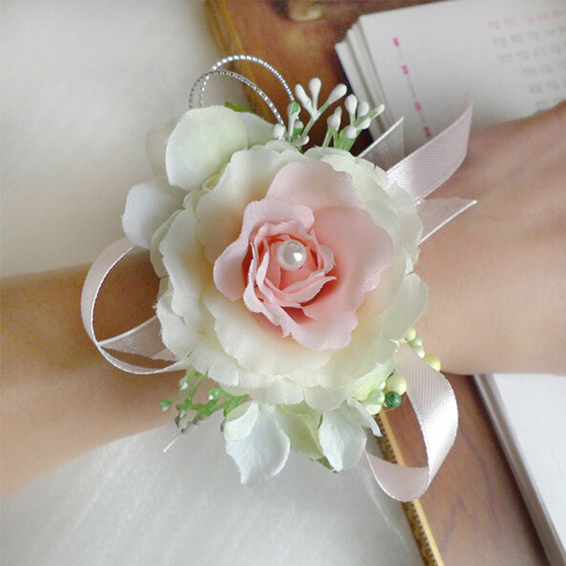Aliexpress buy 1pcs artificial flower for a wedding wrist 1pcs artificial flower for a wedding wrist flower corsage of bridebridesmaid silk champagne rose decor decoracao mightylinksfo