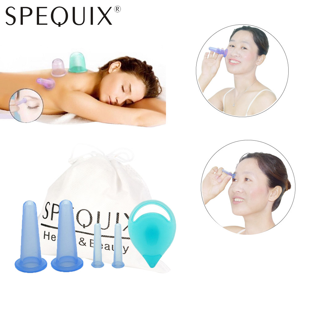 SPEQUIX New 2 Size Facial Massage Cupping Set Silicone Cup Skin Care Equipment Kit For Face Neck Set Of 4 Cups+Massage Brush Hot