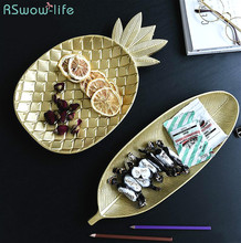 Nordic Golden Pineapple Dessert Fashion Geometry Table Store Candy Wood Receiver Plate Dishes Serving Plates Snack Dish