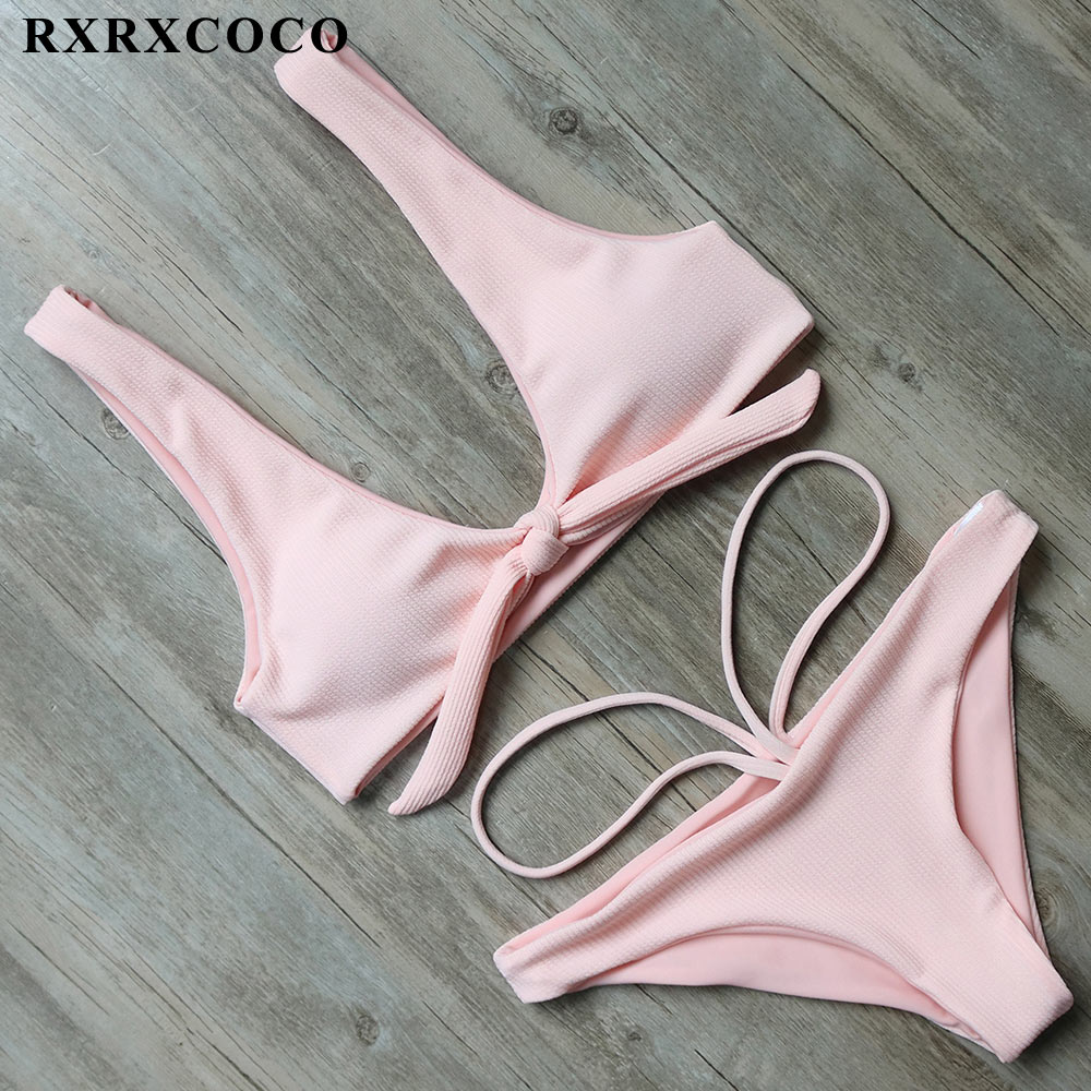 RXRXCOCO Swimwear Women Solid Bikini Set 2017 Push Up Bikini Low Waist Bandage Swimsuit Female Sexy Bathing Suit Beach Wear new arrival bikinis women 2017 push up padded bra beach solid low waist bikini set bathing suit swimsuit swimwear high quality