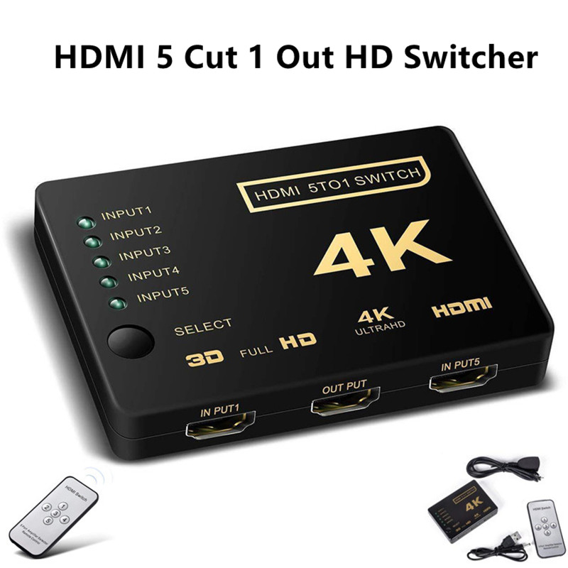 HDMI 4K HD Converter 5 Cut 1 Out Switch HDMI Splitter Audio Connector For Digital HDTV For PS3 Audio Video Receiver Black