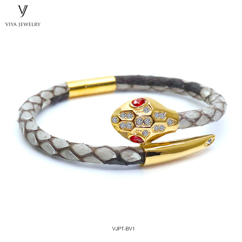 VJPT-BV1---Python leather snake bracelet ,fashion snake head Python leather bracelet,charms snake bracelet women men (41)