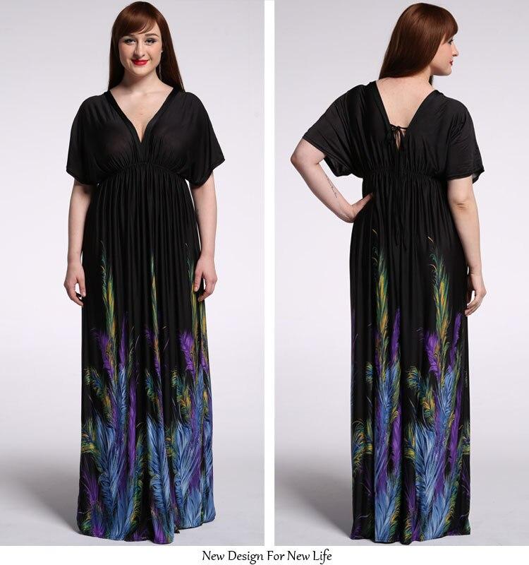 Empire Waist Women Bohemian Long Beach Dress V Front And Back
