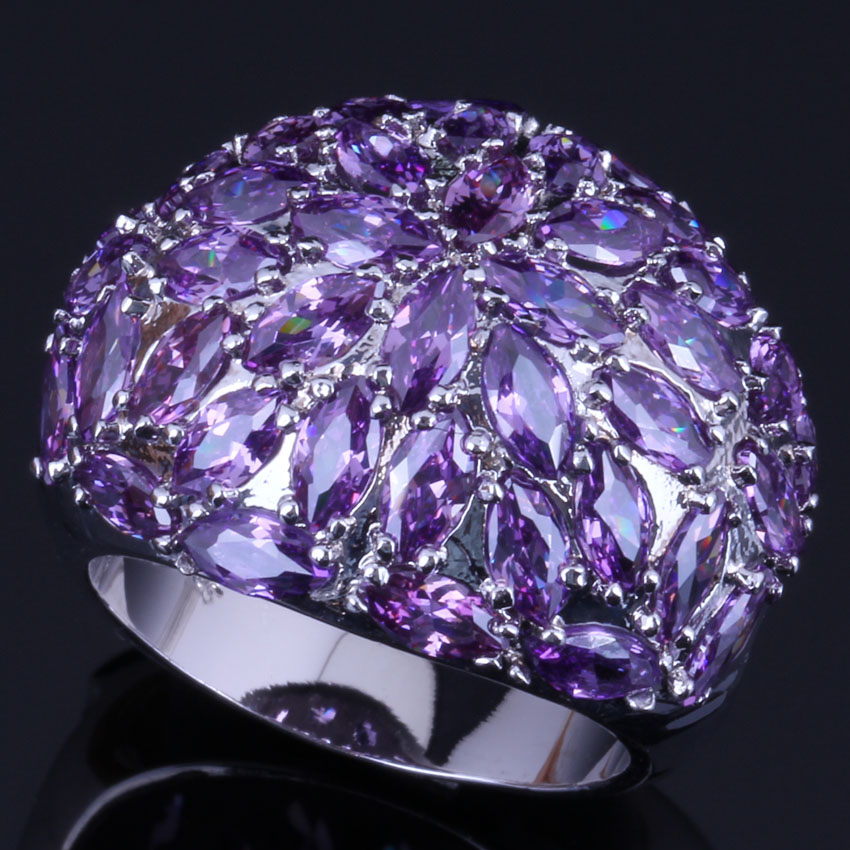 Precious Huge Purple Cubic Zirconia 925 Sterling Silver Ring For Women V0505