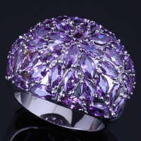 Wertvolle Riesige Lila Zirkonia 925 Sterling Silber Ring Für Frauen V0505