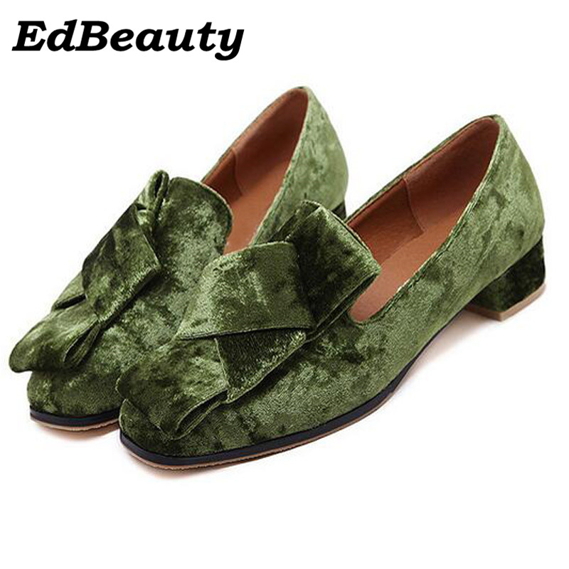 Spring autumn 2017 Velvet Flats Slip On Vintage Oxfords Casual Knot Shoes Woman British Style Women Brogue Shoes 35-40 EUR lanshulan bling glitters slippers 2017 summer flip flops platform shoes woman creepers slip on flats casual wedges gold